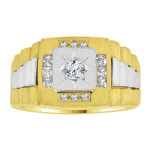 14k Yellow and White Gold, Fancy Ring Men Guy Gent Created CZ Signet Design (R501-022)