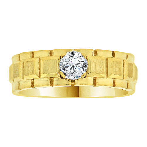 14k Yellow Gold, Fancy Modern Design Band Ring Men Guy Gent Lab Created Gem (R501-023)