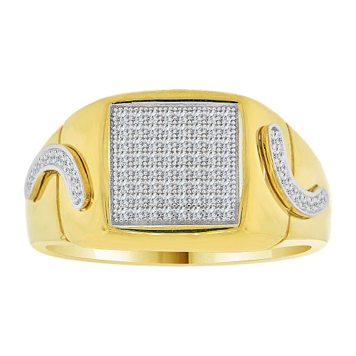 14k Yellow Gold White Rhodium, Fancy Signet Cluster Ring Men Guy Gent Created CZ (R501-027)