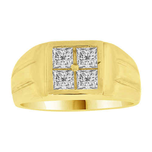14k Yellow Gold, Fancy Signet Ring Men Guy Gent Created CZ (R501-030)