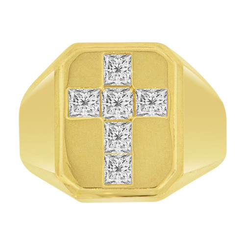 14k Yellow Gold, Fancy Cross Signet Ring Men Guy Gent Created CZ (R501-034)