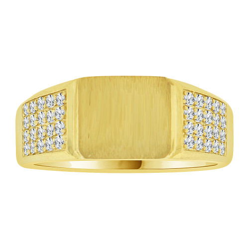 14k Yellow Gold, Fancy Signet Cluster Ring Men Guy Gent Created CZ (R501-035)