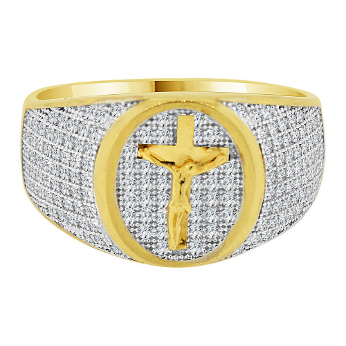 14k Yellow Gold White Rhodium, Fancy Crucifix Cross Cluster Ring Men Guy Gent Created CZ (R501-037)