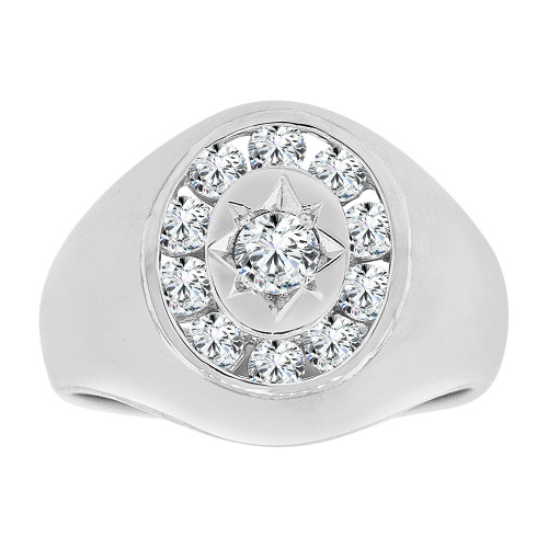 14k Gold White Rhodium, Fancy Ring Men Guy Gent Created CZ (R501-067)