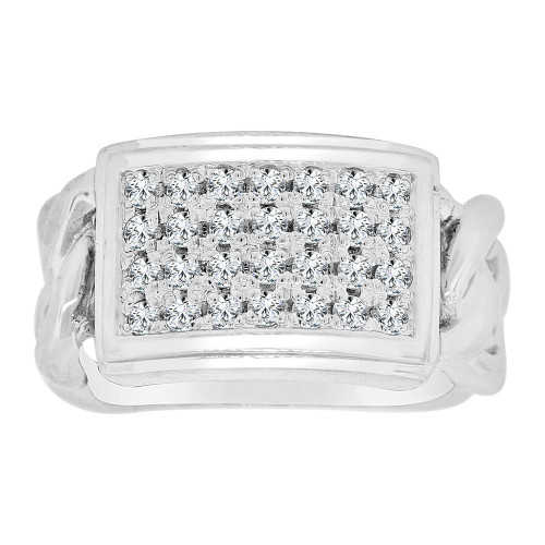 14k Gold White Rhodium, Fancy Link Ring Men Guy Gent Created CZ Cluster  (R501-070)