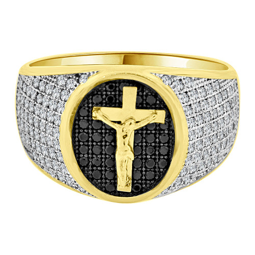 14k Yellow Gold White Rhodium, Fancy Crucifix Cross Cluster Ring Men Guy Gent Created CZ (R501-087)