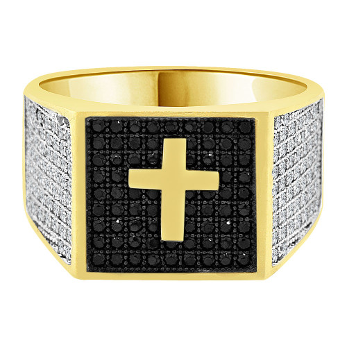 14k Yellow Gold White Rhodium, Fancy Cross Cluster Ring Men Guy Gent Created CZ (R501-088)