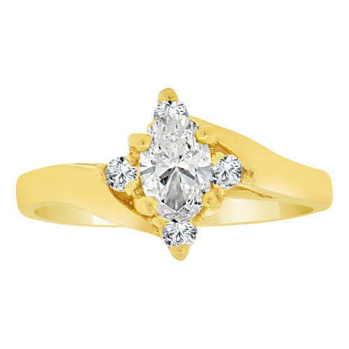 14k Yellow Gold, Classic Ring Created Oval Color CZ Synthetic Apr Birthstones (R217-104)