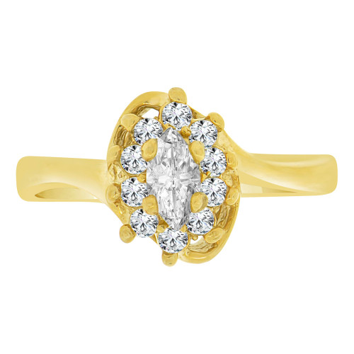 14k Yellow Gold, Cluster Ring Created Marquise Color CZ Synthetic Apr Birthstones (R217-204)