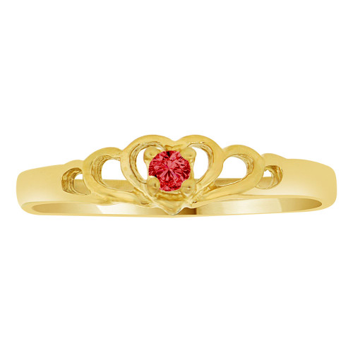 14k Yellow Gold, Dainty Mini Heart Ring Created Color CZ Synthetic Jan Birthstones (R217-301)