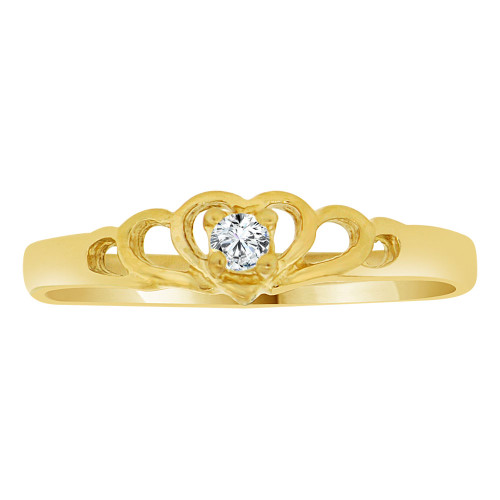 14k Yellow Gold, Dainty Mini Heart Ring Created Color CZ Synthetic Apr Birthstones (R217-304)