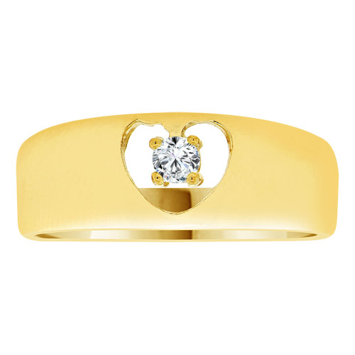 14k Yellow Gold, Polished Band Heart Ring Created Color CZ Synthetic Apr Birthstones (R217-404)
