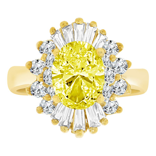 14k Yellow Gold, Fancy Cluster Cocktail Ring Created Oval Color CZ Synthetic Nov Birthstones (R218-111)