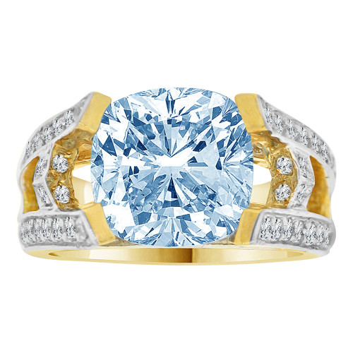 14k Yellow Gold White Rhodium, Fancy Estate Ring Created Cushion Cut CZ Synthetic Mar Birthstones (R220-303)