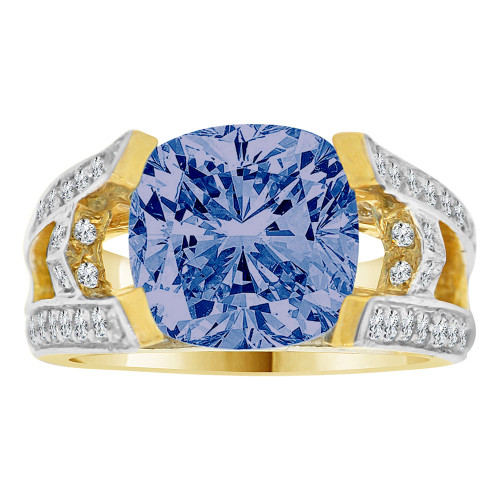 14k Yellow Gold White Rhodium, Fancy Estate Ring Created Cushion Cut CZ Synthetic Sep Birthstones (R220-309)