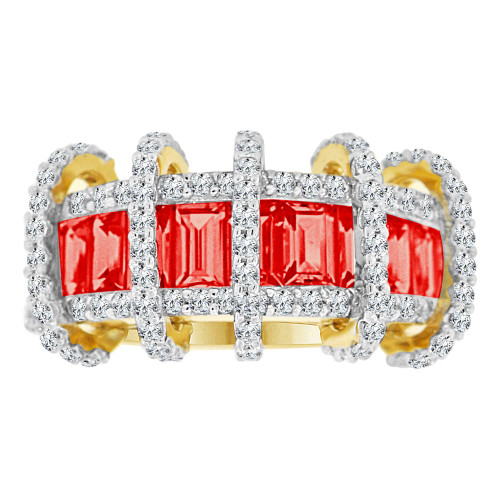 14k Yellow Gold, Fancy Modern Ring Created Baguette CZ Synthetic Jul Birthstones (R221-107)