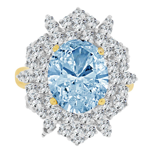 14k Yellow Gold White Rhodium, Large Fancy Ring Created Oval CZ Synthetic Mar Birthstones (R221-503)