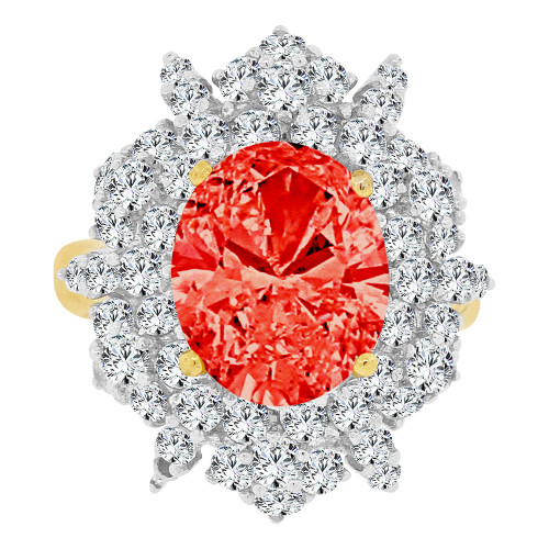 14k Yellow Gold White Rhodium, Large Fancy Ring Created Oval CZ Synthetic Jul Birthstones (R221-507)