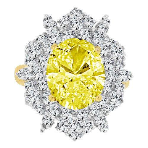 14k Yellow Gold White Rhodium, Large Fancy Ring Created Oval CZ Synthetic Nov Birthstones (R221-511)
