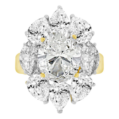 14k Yellow Gold, Large Fancy Estate Ring Created Oval CZ Synthetic Apr Birthstones (R221-604)