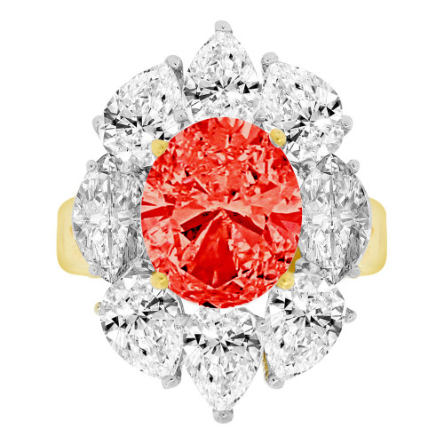 14k Yellow Gold, Large Fancy Estate Ring Created Oval CZ Synthetic Jul Birthstones (R221-607)