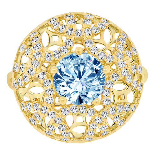 14k Yellow Gold, Fancy Filigree Dome Ring Created Round CZ Synthetic Mar Birthstones (R221-703)