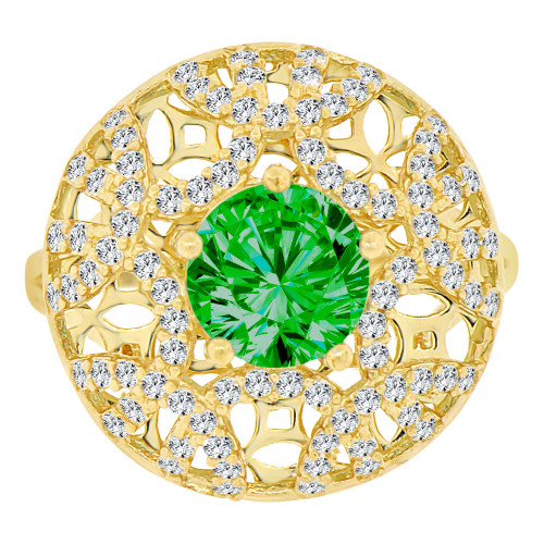 14k Yellow Gold, Fancy Filigree Dome Ring Created Round CZ Synthetic May Birthstones (R221-705)