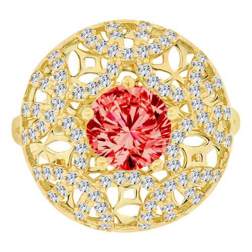 14k Yellow Gold, Fancy Filigree Dome Ring Created Round CZ Synthetic Jul Birthstones (R221-707)