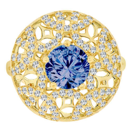 14k Yellow Gold, Fancy Filigree Dome Ring Created Round CZ Synthetic Sep Birthstones (R221-709)
