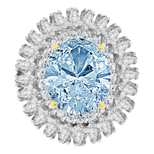 14k Yellow Gold White Rhodium, Large Fancy Estate Ring Oval Synthetic Mar Birthstone CZ (R222-103)