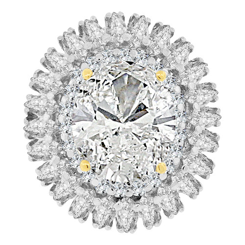 14k Yellow Gold White Rhodium, Large Fancy Estate Ring Oval Synthetic Apr Birthstone CZ (R222-104)