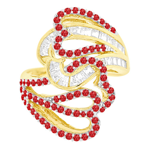 14k Yellow Gold White Rhodium, Extra Fancy Abstract Flair Ring Created Red & White CZ (R222-607)