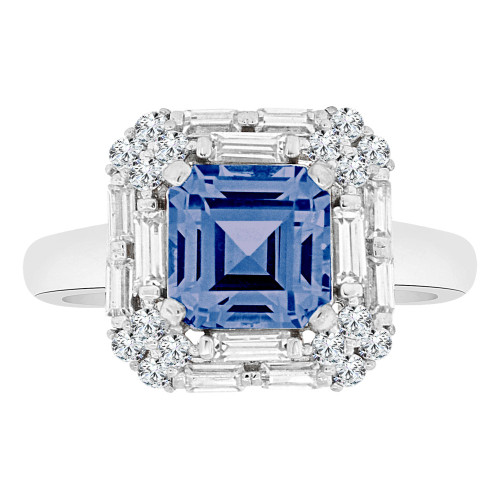 14k Gold White Rhodium, Fancy Square Ring Created CZ Crystals Blue September (R223-059)