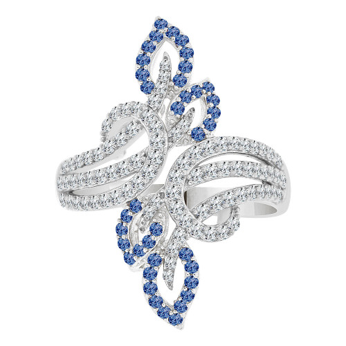 14k Gold White Rhodium, Fancy Flair Ring Created CZ Crystals Blue September (R223-089)