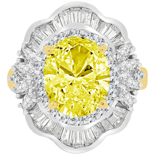 14k Yellow Gold White Rhodium, Fancy Estate Ring Created CZ Crystals Yellow Nov (R223-111)