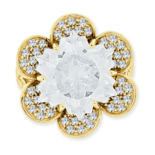 14k Yellow Gold, Fancy Estate Flower Ring Special Cut Created CZ Crystals (R223-604)