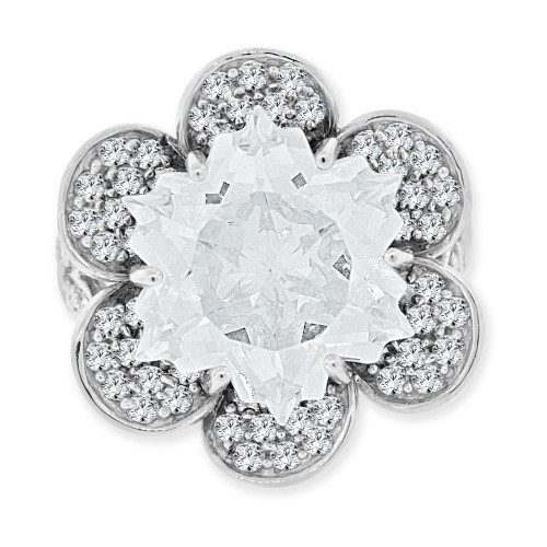 14k Gold White Rhodium, Fancy Estate Flower Ring Special Cut Created CZ Crystals (R223-654)