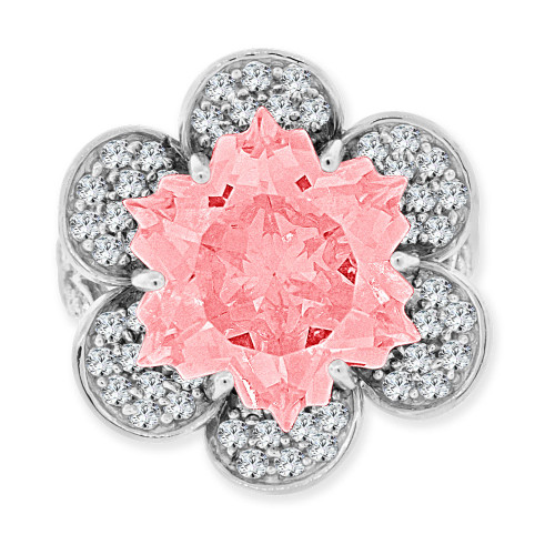 14k Gold White Rhodium, Fancy Estate Flower Ring Special Cut Created CZ Crystals (R223-660)
