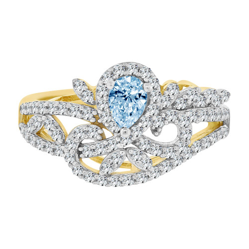 14k Yellow Gold White Rhodium, Fancy Lady Ring Created CZ Crystals Aqua Mar Color (R224-013)