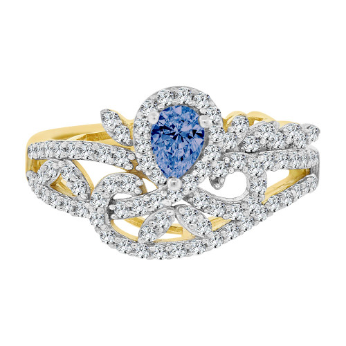 14k Yellow Gold White Rhodium, Fancy Lady Ring Created CZ Crystals Blue Sep Color (R224-019)