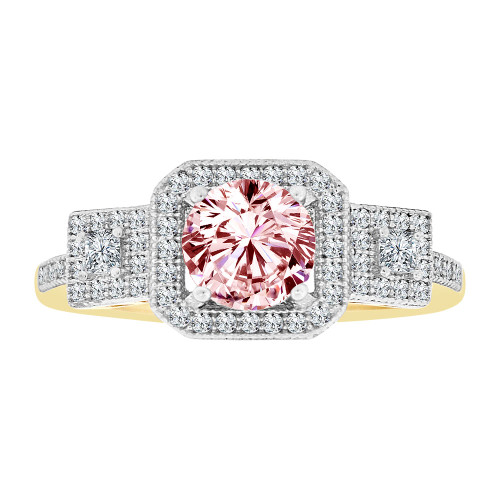 14k Yellow Gold White Rhodium, Fancy Halo Lady Ring Created CZ Crystals Pink Oct Color (R224-030)