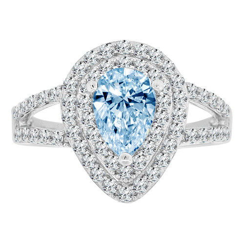14k Gold White Rhodium, Pear Shape Halo Lady Ring Created CZ Crystals Aqua Blue Color (R224-053)