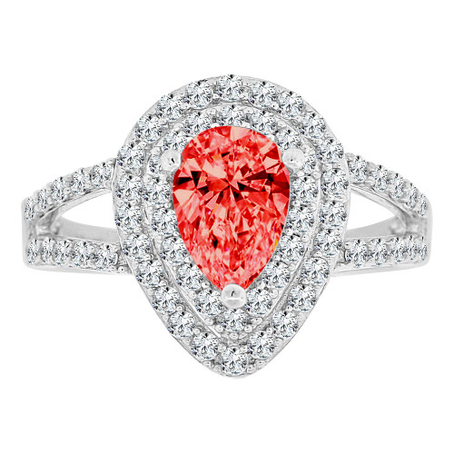 14k Gold White Rhodium, Pear Shape Halo Lady Ring Created CZ Crystals Red Color (R224-057)