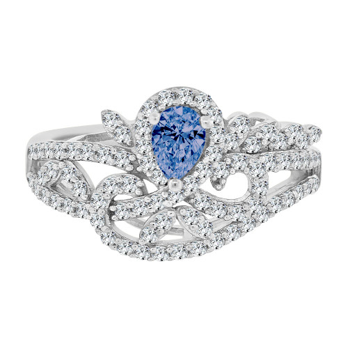 14k Gold White Rhodium, Fancy Lady Ring Created CZ Crystals Blue Color (R224-069)