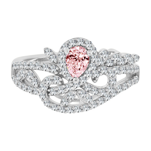 14k Gold White Rhodium, Fancy Lady Ring Created CZ Crystals Pink Color (R224-070)