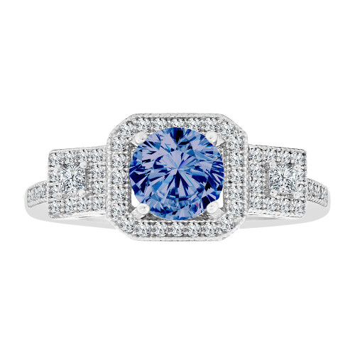 14k Gold White Rhodium, Fancy Halo Lady Ring Created CZ Crystals Blue Sep Color (R224-079)