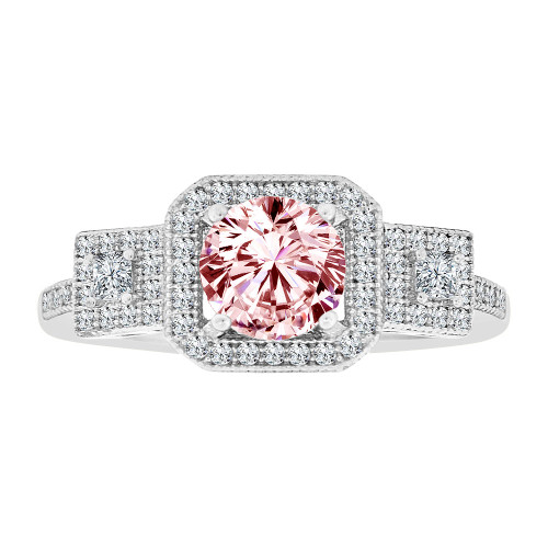 14k Gold White Rhodium, Fancy Halo Lady Ring Created CZ Crystals Pink Oct Color (R224-080)