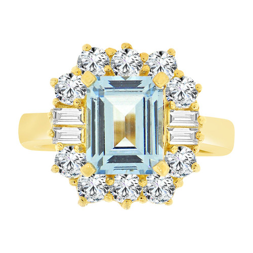 14k Yellow Gold, Fancy Estate Ring Created CZ Crystals Rectangle Aqua March (R224-103)