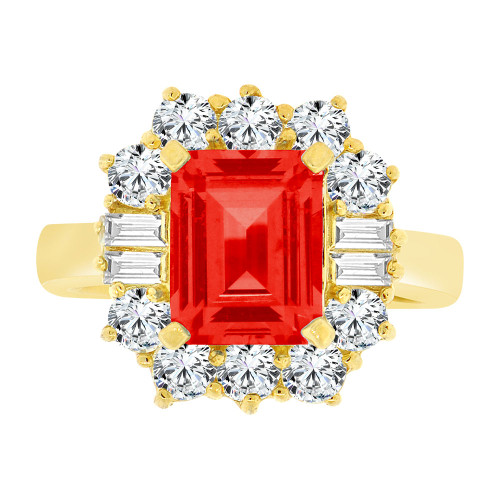 14k Yellow Gold, Fancy Estate Ring Created CZ Crystals Rectangle Red July (R224-107)