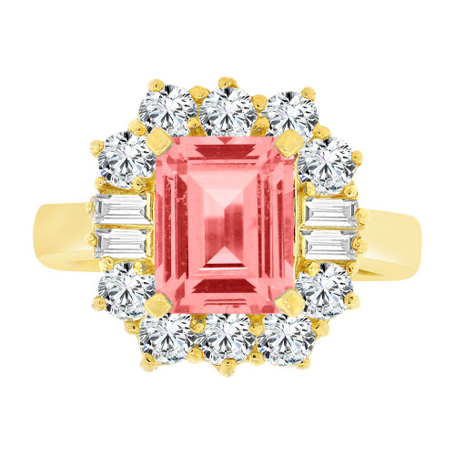 14k Yellow Gold, Fancy Estate Ring Created CZ Crystals Rectangle Pink October (R224-110)